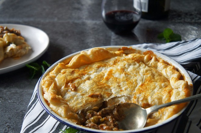 A cosy winter Sunday lunch, roast lamb pie