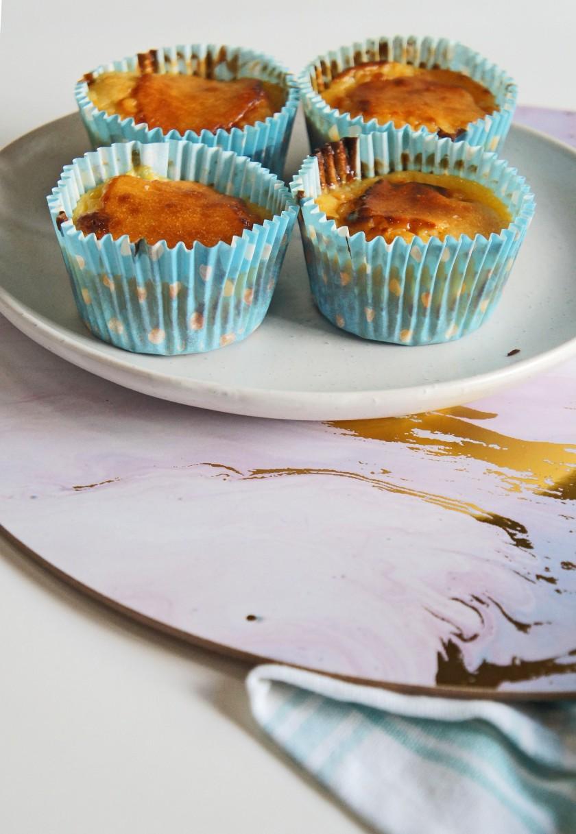 Custard filled sultana muffins
