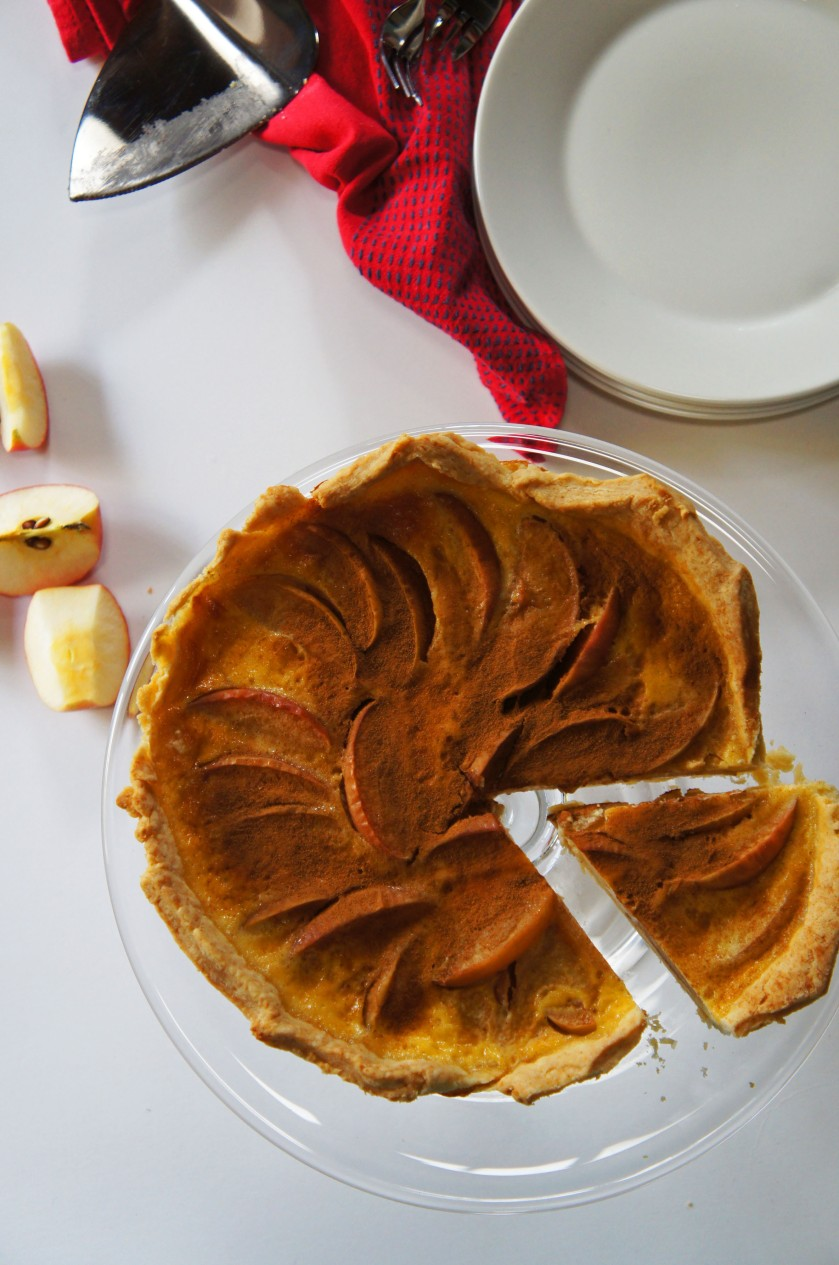 An apple tart with a creamy custard filling