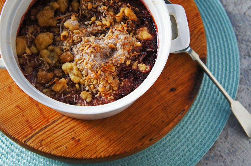 A rich cherry, chocolate and coconut crumble dessert recipe