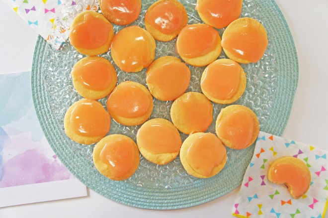 A tangy grapefruit shortbread with a sticky marshmallowy icing