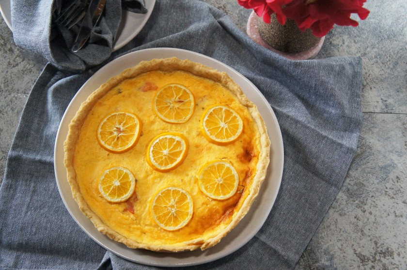 A tangy lemony quiche with smoked salmon and capers