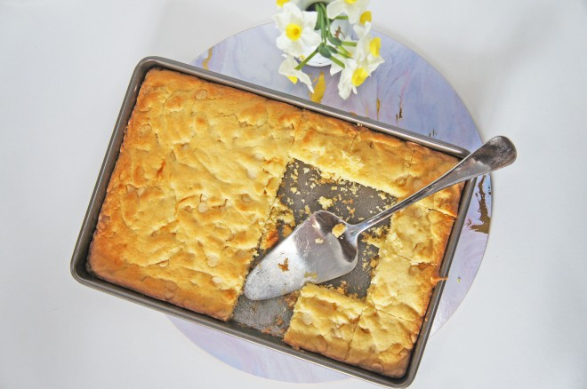 A tangy, sweet white chocolate and lime slice