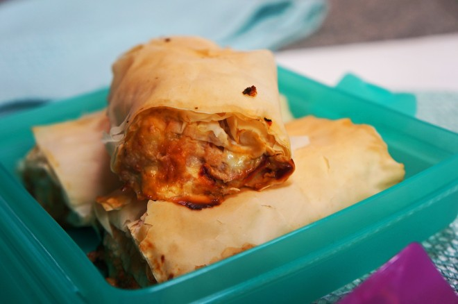 A lighter filo wrapped sausage roll with punchy flavours of chicken, olive, capsicum and feta